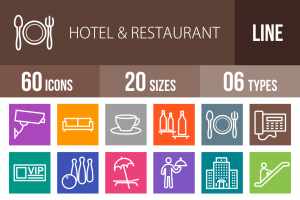 60 Hotel & Restaurant Line Multicolor B/G Icons - Overview - IconBunny