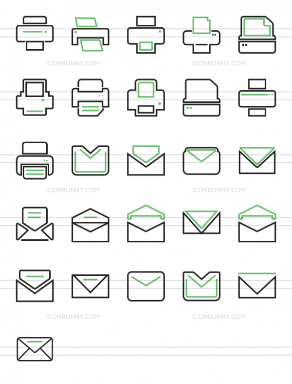 26 Email & Printers Line Green & Black Icons - Preview - IconBunny