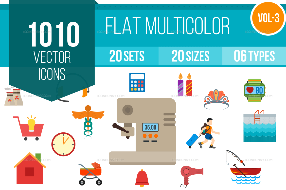 1000+ Flat Multicolor Icons Bundle (V-3)