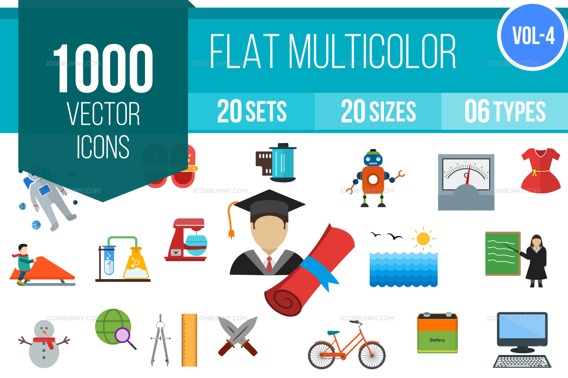 1000+ Flat Multicolor Icons Bundle (V-4)
