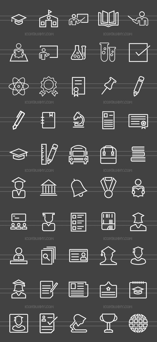 50 Academics Line Inverted Icons - Preview - IconBunny