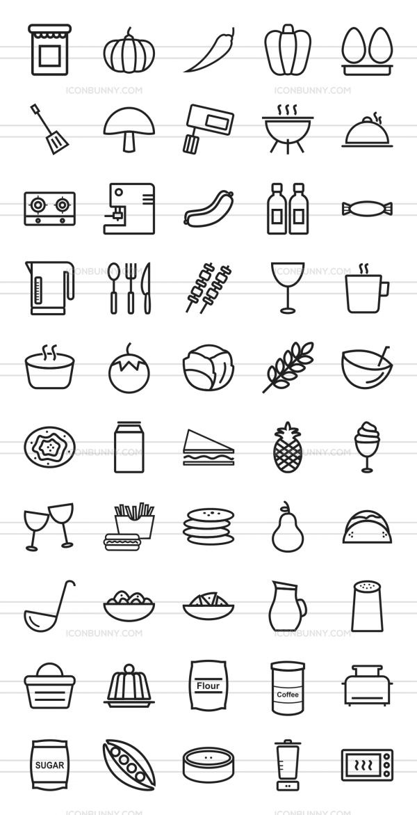50 Food Line Icons - Preview - IconBunny