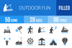50 Outdoor Fun Blue Black Icons - Overview - IconBunny