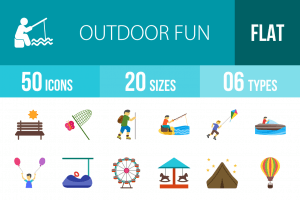 50 Outdoor Fun Flat Multicolor Icons - Overview - IconBunny