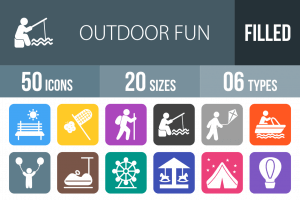 50 Outdoor Fun Flat Round Corner Icons - Overview - IconBunny