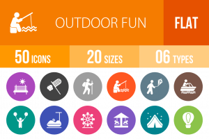 50 Outdoor Fun Flat Round Icons - Overview - IconBunny