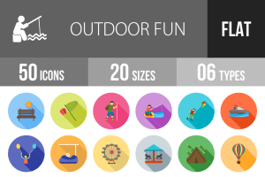 50 Outdoor Fun Flat Shadowed Icons - Overview - IconBunny