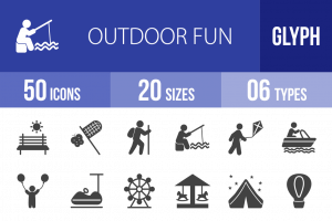 50 Outdoor Fun Glyph Icons - Overview - IconBunny
