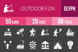 50 Outdoor Fun Glyph Inverted Icons - Overview - IconBunny