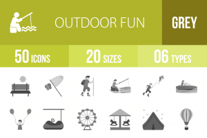 50 Outdoor Fun Greyscale Icons - Overview - IconBunny