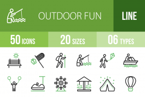 50 Outdoor Fun Line Green Black Icons - Overview - IconBunny