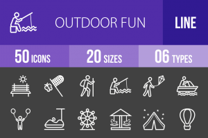 50 Outdoor Fun Line Inverted Icons - Overview - IconBunny