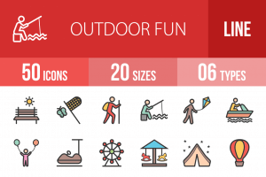 50 Outdoor Fun Line Multicolor Filled Icons - Overview - IconBunny