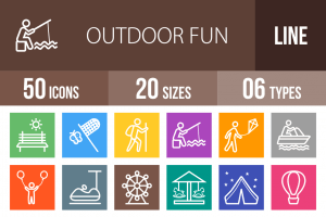 50 Outdoor Fun Line Multicolor B/G Icons - Overview - IconBunny