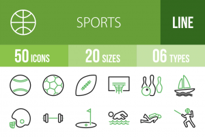 50 Sports Line Green & Black Icons - Overview - IconBunny