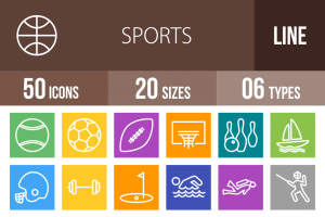 50 Sports Line Multicolor B/G Icons - Overview - IconBunny