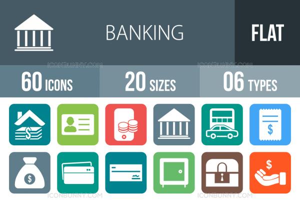 60 Banking Flat Round Corner Icons - Overview - IconBunny