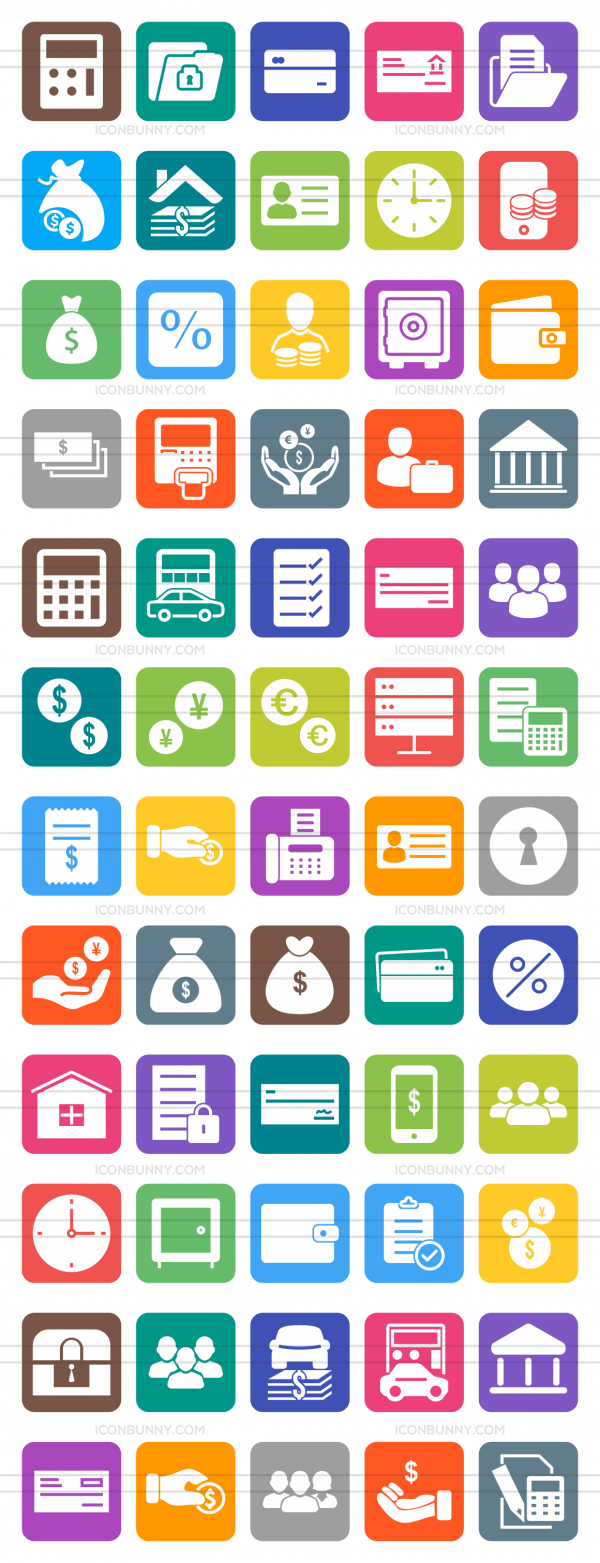 60 Banking Flat Round Corner Icons - Preview - IconBunny