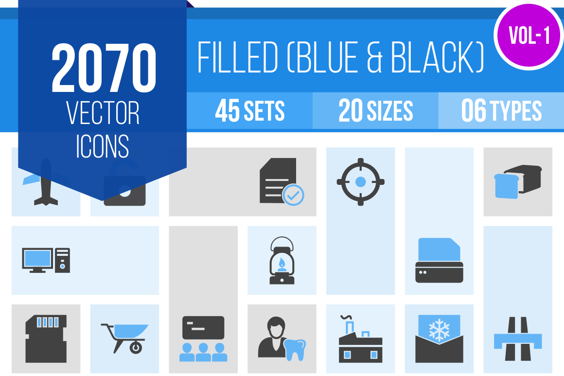 2070 Blue & Black Icons Bundle - Overview - IconBunny